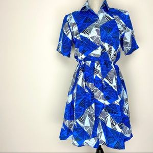 Vintage blue and black collared casual shirt dress